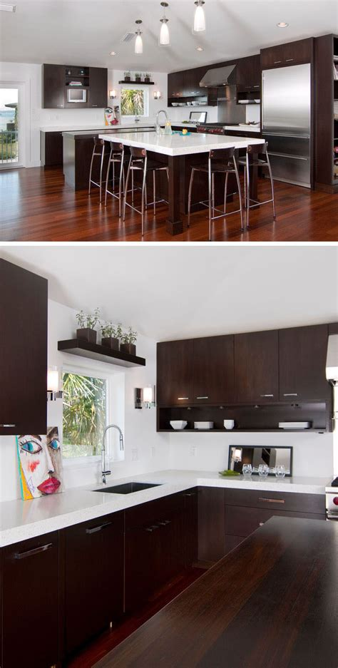 white and dark wood kitchen 9 inspirational kitchens that combine dark wood cabinetry 656 | dark wood white kitchen 060716 02 800x1582