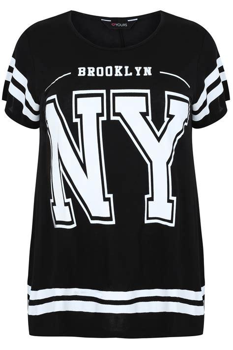 T Shirt Kaos New York black and white new york print sleeve t shirt plus