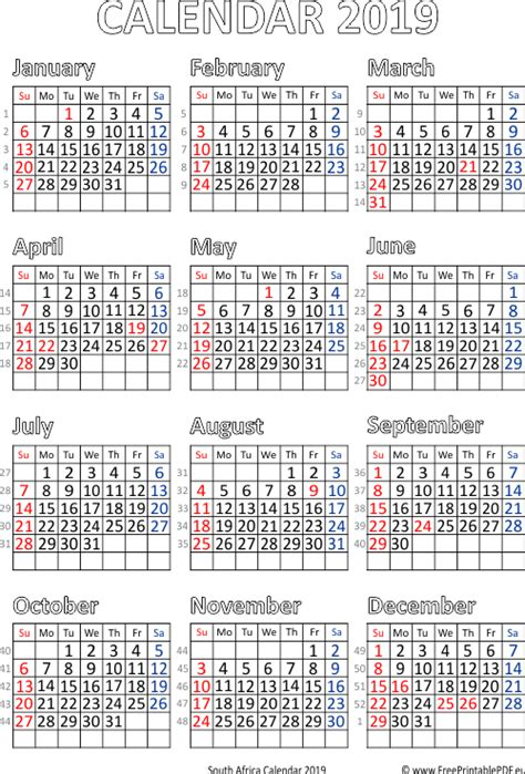 calendar south africa printable