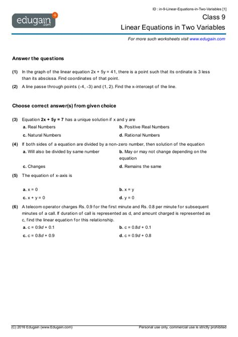 class 9 math worksheets and problems linear equations in