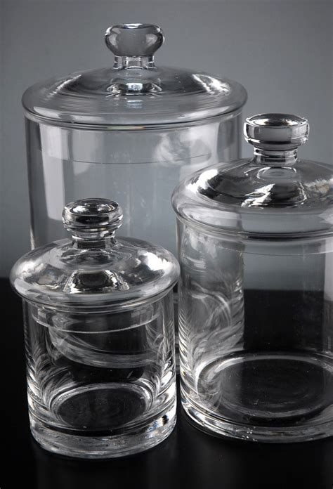 Glass Canisters by Set Of 3 Clear Glass Apothecary Canister Jars 5 Quot 7 Quot 9