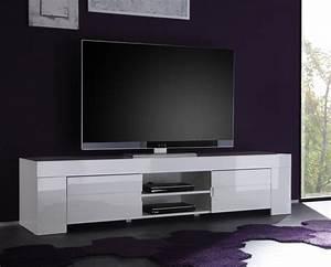 meuble tv hifi blanc laqu design esmeralda With meuble t