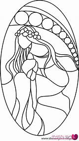 Stained Glass Patterns Coloring Flowers Pattern Lady Flower Stainedglasshobby Mosaic Painting Faux Mermaid Projects Vitray Outline طرح Simple Cricut ویترای sketch template