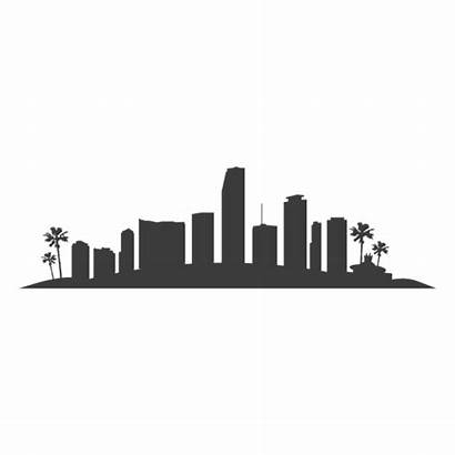 Miami Silhouette Skyline Angeles Los Buildings Transparent