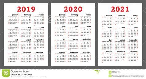calendar years colorful vector set week start stock