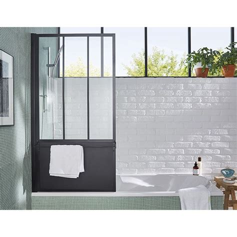 pare baignoire loft  volets noir castorama    bathrooms   bathroom
