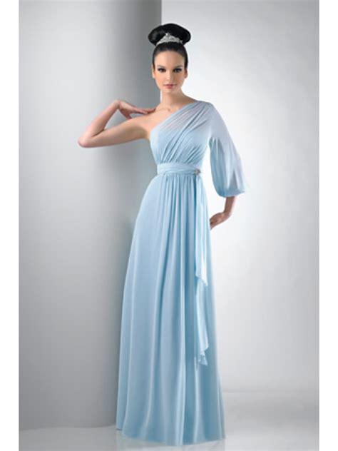 shoulder long sleeve chiffon blue bridesmaid dresses