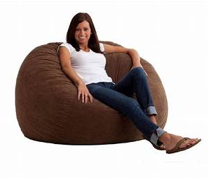 suede bean bag chair lounge comfort soft fabric foam brown With big soft bean bag chairs