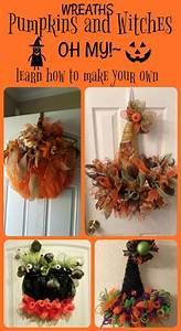 Dollar tree pumpkin and witches hat wreaths - Debbiedoos