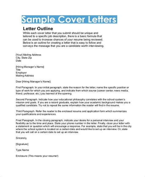 Outline For A Cover Letter by Sle Cover Letter Format 9 Exles In Pdf Word