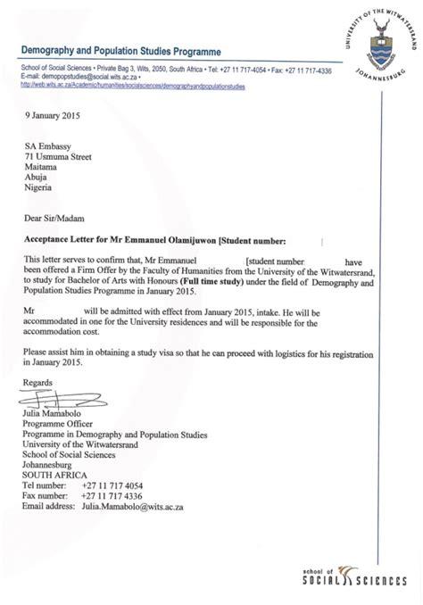 acceptance letter at uj letter sle
