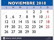 November month in a year 2018 wall calendar in spanish