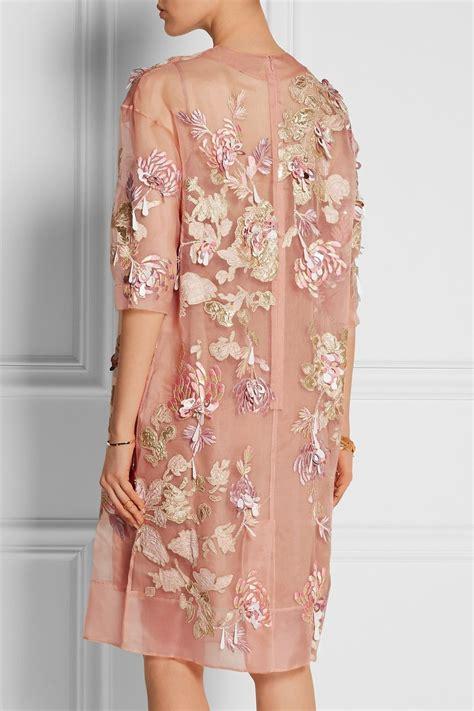 biyan ava embellished silk blend organza dress