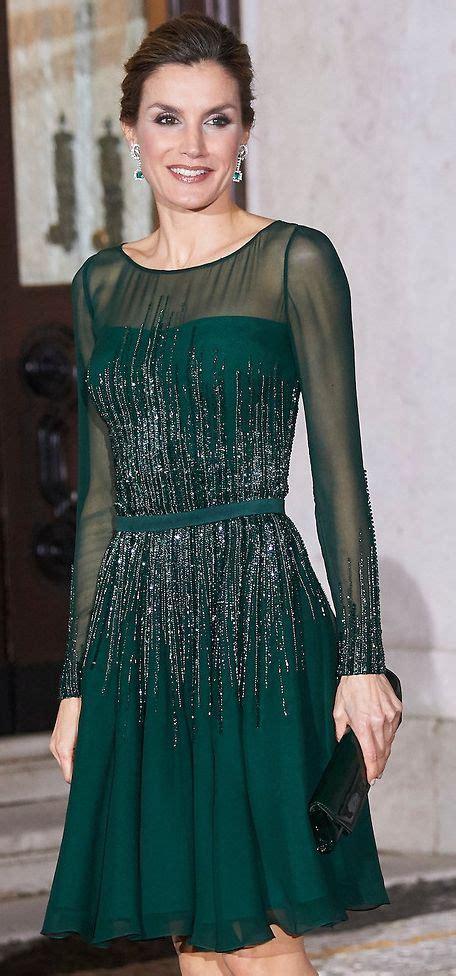 Queen Letizia wearing Felipe Varela hunter green illusion ...