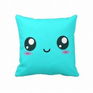 cute kawaii smiley cushion bright cyan from zazzle pillows With cute blue throw pillows