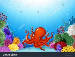 Cartoon Octopus With Coral Reef Underwater In Ocean Stock ...