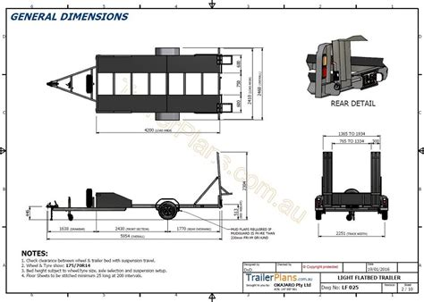 Boat Trailer Plans Australia by Single Axle Flatbed 2200kg Trailer Plans