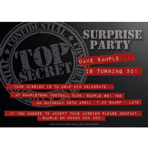 mission impossible  party invitations