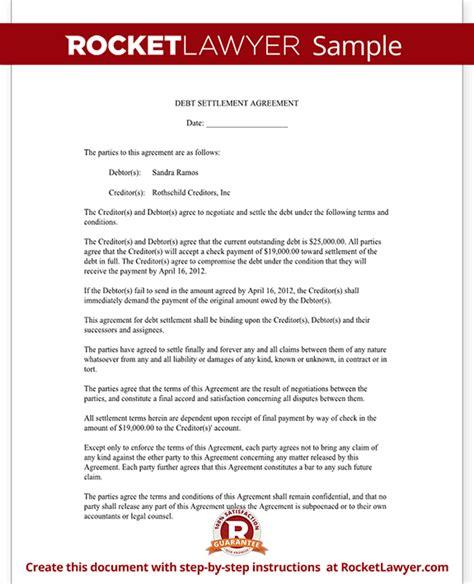 settlement agreement template debt settlement letter settlement letter sle rocket lawyer