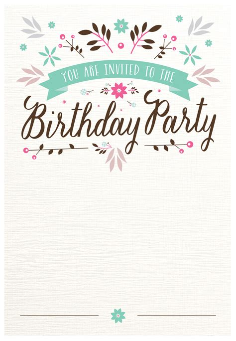 Birthday Card Template Flat Floral Free Printable Birthday Invitation Template
