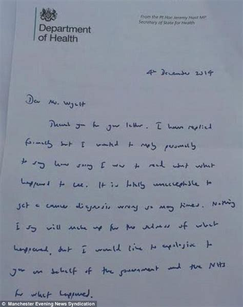lee wyatts mother  handwritten apology  health