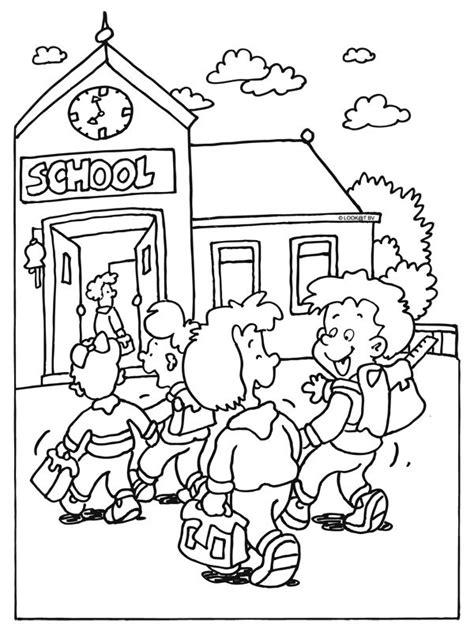 Kleurplaat Schoolgebouw by Kleurplaat Naar School School Begin Schooljaar