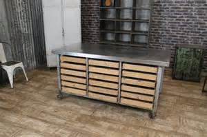 industrial kitchen island stainless steel kitchen island on castors eighteen pine drawers