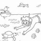 Snorkeling Coloring Surfnetkids sketch template