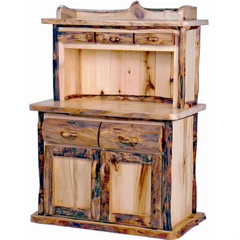 aspen log kitchen hutch mountain woods log furniture