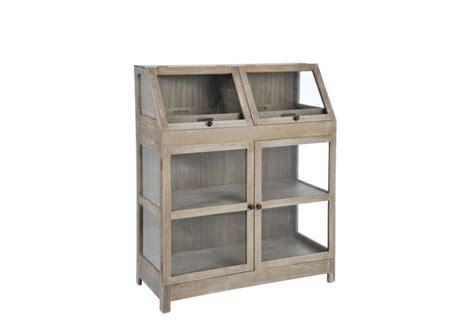 meuble d appoint vitre serre bois blanc 100x45x121cm j