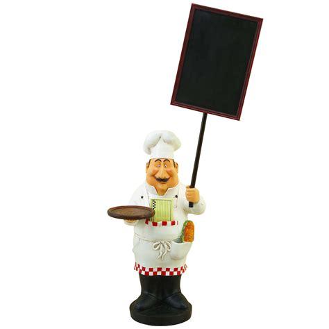 chef figurines kitchen decor large chef figurine with welcome chalkboard kitchen