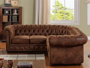 canape d39angle microfibre aspect cuir vieilli chesterfield With tapis design avec chesterfield canapé cuir