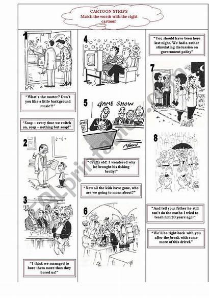 Cartoon Strips Worksheet Worksheets Cartoons Reading Esl