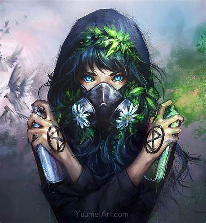 Mask Anime Hoodie Anonymous Yuumei Paint Wallpapers