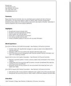 accounting controller resume exles professional cv in finance