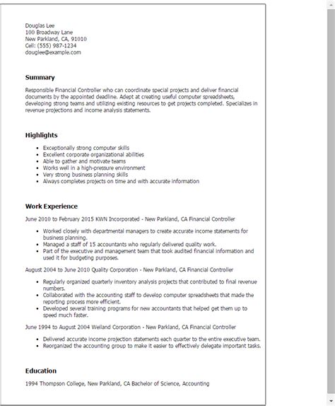 professional cv in finance