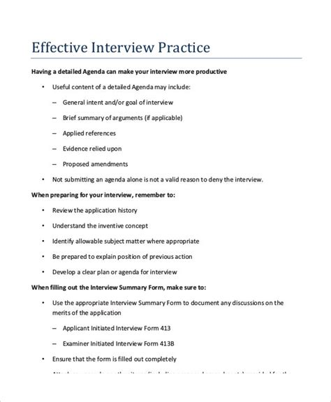 interview agenda template   word  documents