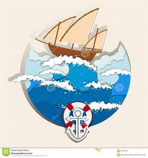 Ocean scene with sailboat stock vector. Illustration of ...