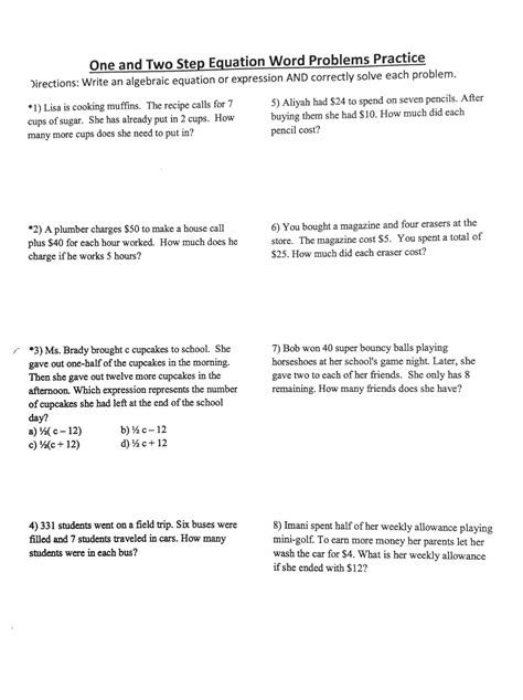 multi step equation word problems worksheet worksheets for