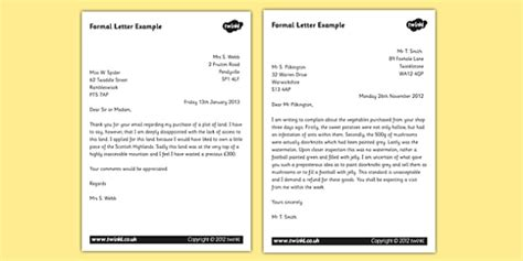 formal letter examples