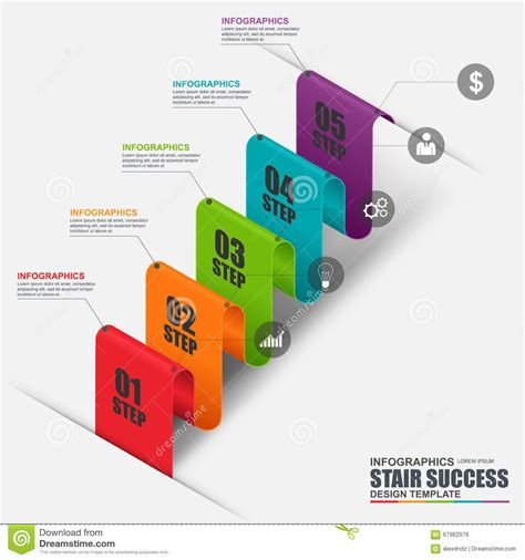 abstract 3d business stair step success infographic stock
