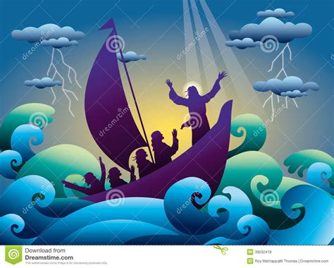 Barco En Una Tormenta Dibujo by Jes 250 S Calma La Tormenta En El Barco Ilustraci 243 N Del Vector