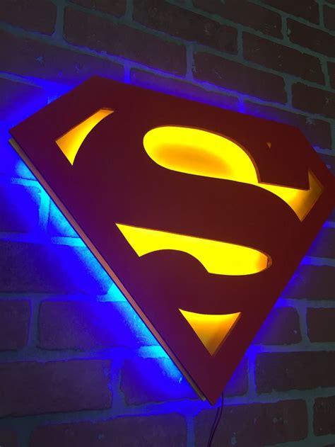dual color justice league superman comic book illuminated neon glowing led logo wall