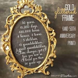 Cadeau 50 Ans De Mariage Parents : gold and glittered frame and print 50th anniversary party decor o pinterest ~ Melissatoandfro.com Idées de Décoration