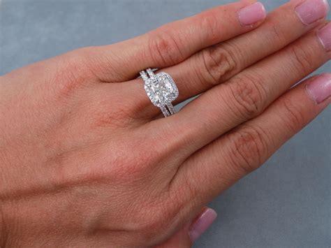 wedding ring sets cushion cut 2 ctw cushion cut wedding ring h si1 includes a matching wedding ring