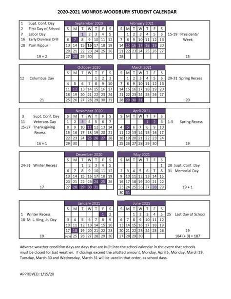 student calendar monroe woodbury central