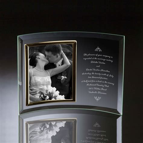 wedding invitation curved glass vertical  photo frame
