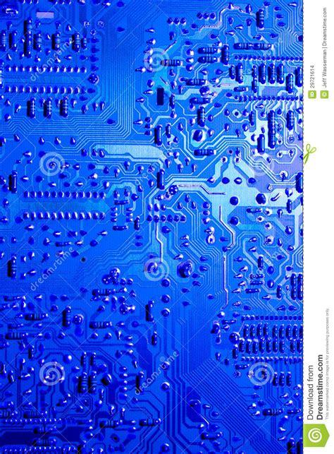 Blue Lit Computer Circuit Board Stock Photo Image
