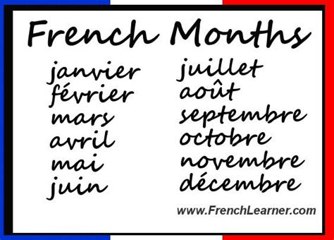 How To Speak Months Of The Year In France