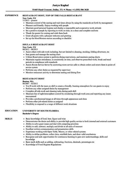 Host Resume by Restaurant Host Resume Sles Velvet